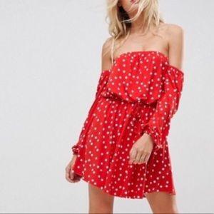 Off shoulder red polka dot dress